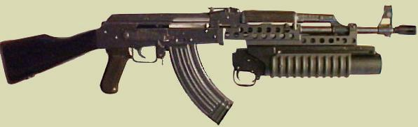 M203PI 40mm Modular showing the M203PI 40mm Grenade Launcher mounted to the AK-47 Rifle.