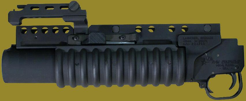 M203PI 40mm Grenade Launcher for use with weapons having rails.