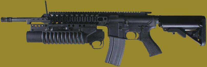 M203PI 40mm Grenade Launcher mounted on a rifle with rails certified by the manufacturer for use with a 40mm grenade launcher.