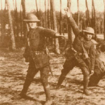 Photo of World War I soldiers throwing hand grenades.
